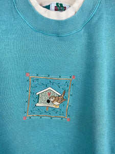 Embroidered bird house crewneck