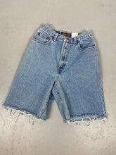 Load image into Gallery viewer, Vintage high waisted Route 66 frayed Denim shorts - 24in