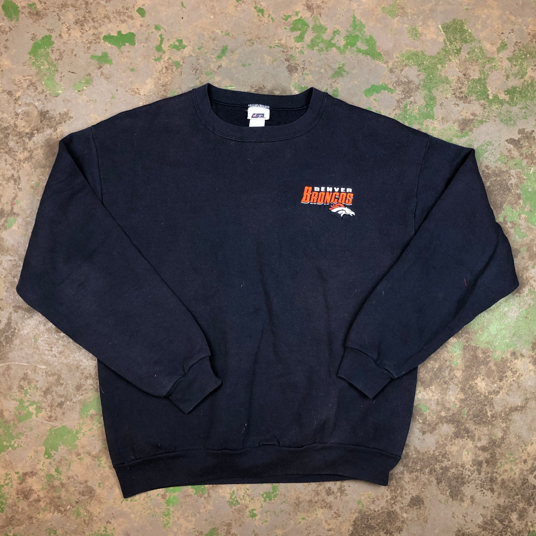 Embroidered Broncos Crewneck