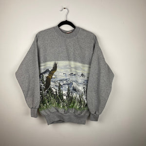 90s front and back hawk crewneck