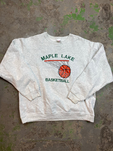 Heavy weight embroidered basketball crewneck