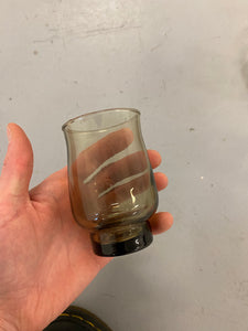 Set of three tinted small glasses