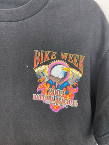 Front and back faded bike week t shirt