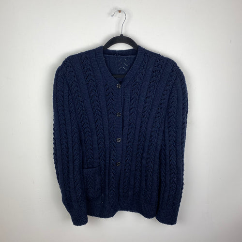 Navy knitted front button sweater