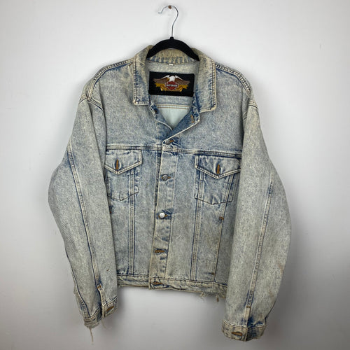 90s Harley denim jacket with back graphic