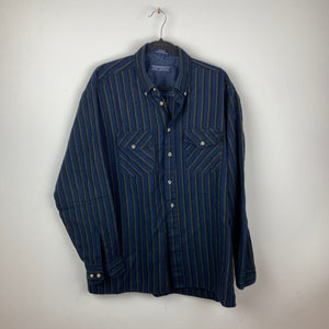 90s striped button up