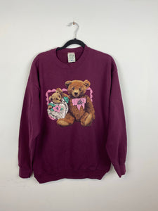 Burgundy bear crewneck