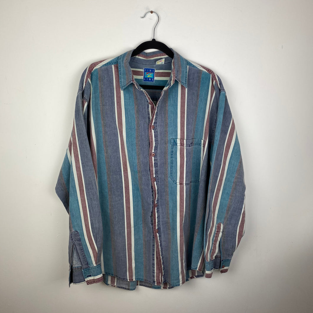 90s stripped button up