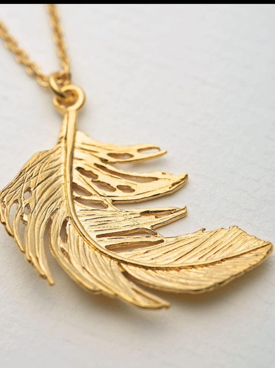 Alex Monroe Big Feather Necklace - Gold