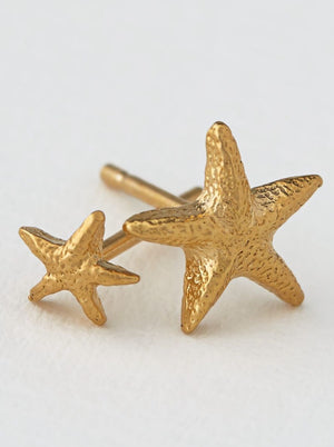 Alex Monroe Asymmetrical Starfish Studs - Gold