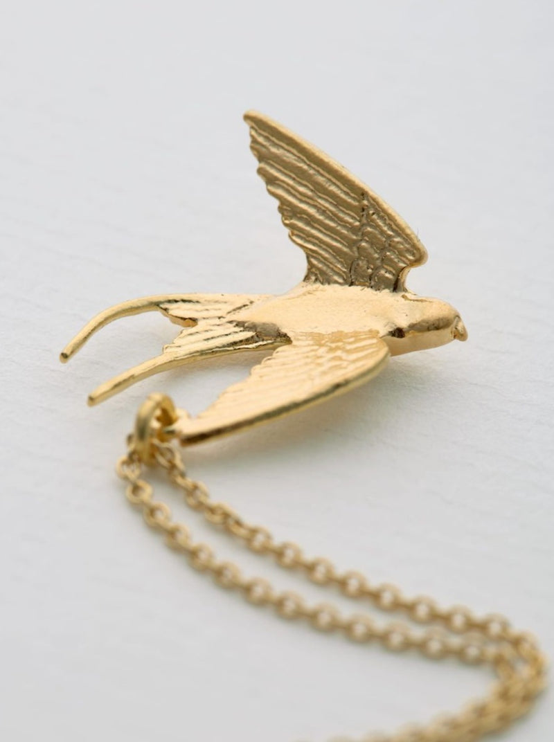 Alex Monroe Small Swooping Swallow Necklace - Gold