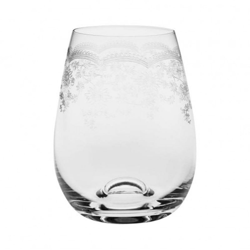 Floral Engraved Stemless Wine Glass