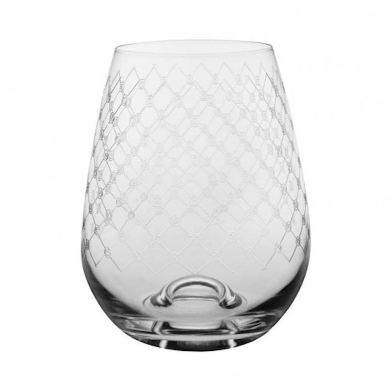 Fishnet Engraved Stemless Wine Glass