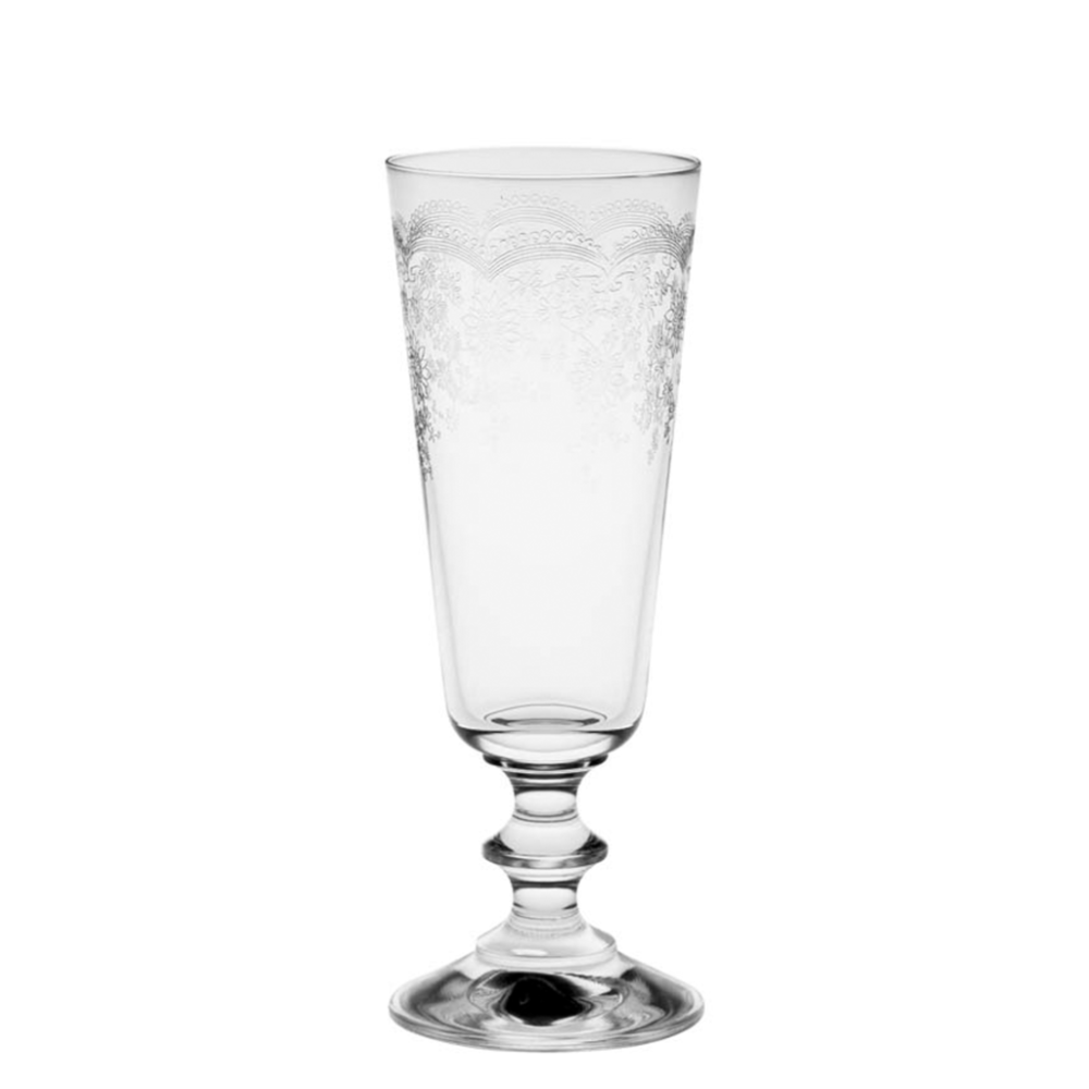Floral Engraved Champagne Glasses