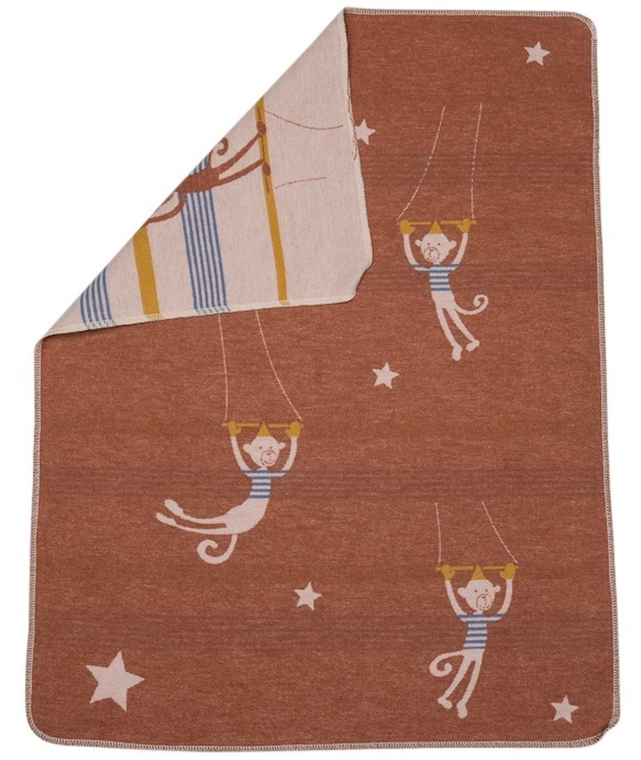 David Fussenegger Bassinet Blanket - Toffee Circus Monkeys