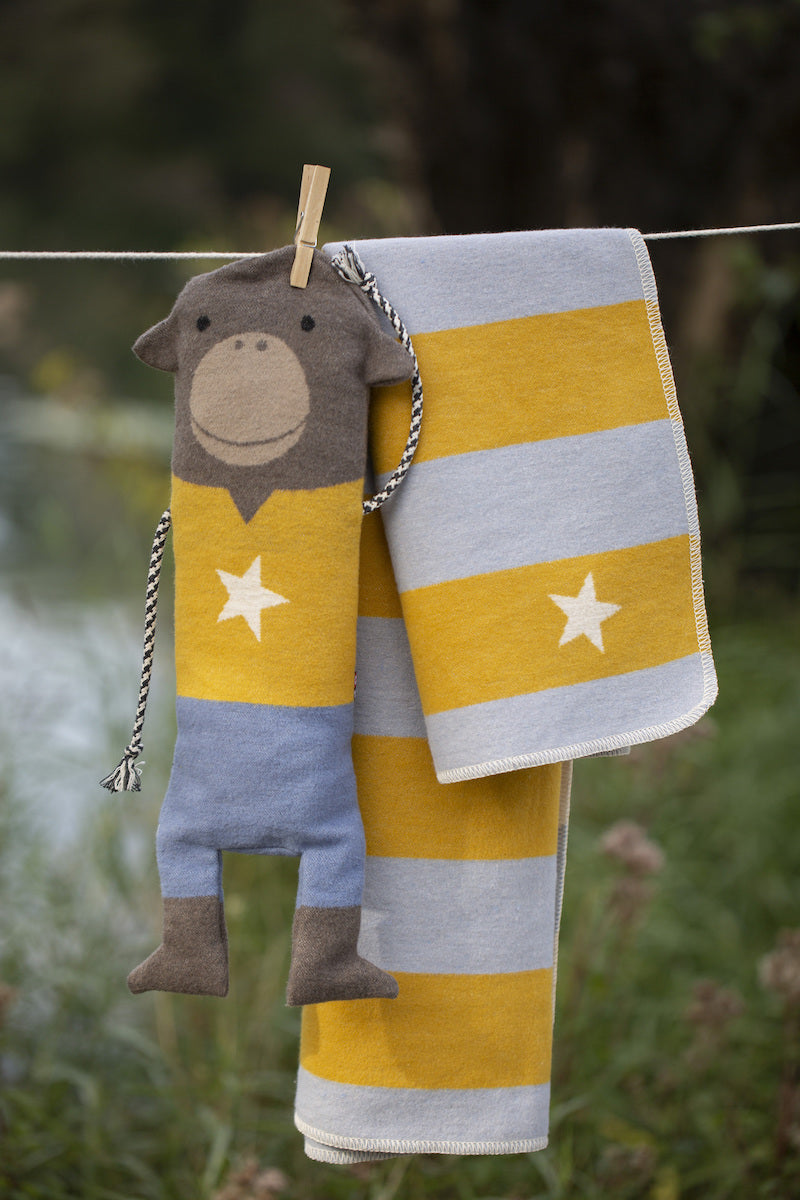 David Fussenegger Bassinet Blanket - Stripes and Star in Monkey