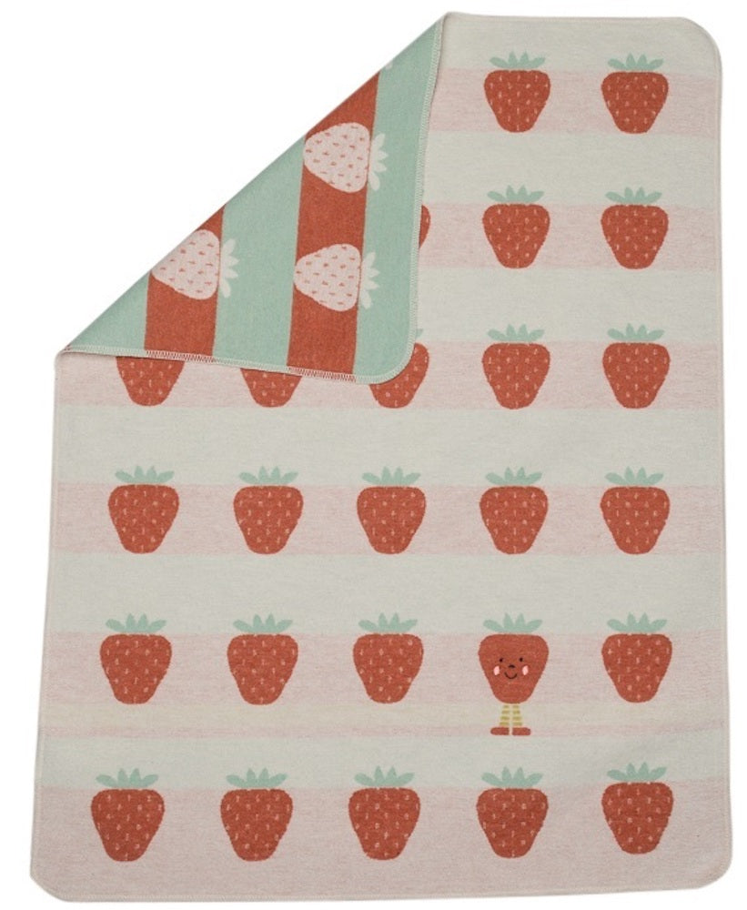 David Fussenegger Bassinet Blanket - Strawberries w/ Embroidery