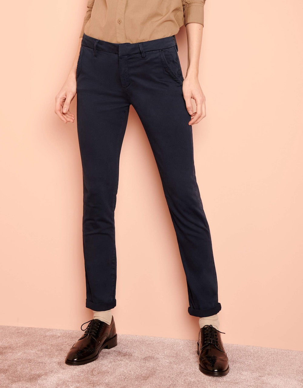 Reiko 'Sandy 2' Dark Navy Chino Trousers