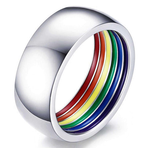 LGBT Pride Rainbow Enamel Comfort fit Wedding Band in Stainless Steel, For Men and Women