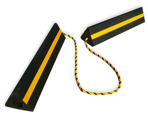 Premium Large 24″ Rubber Wheel Chocks with Reflective Strip (Pair)-The Premium World