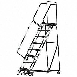 "Premium 8 Steps, 80"" H Steel Rolling Ladder, 450 lb. Load Capacity-The Premium World"