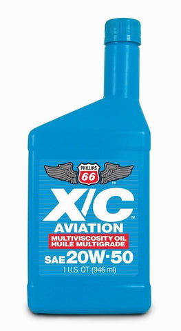 Premium Phillips 66 X/C Aviation Oil 20w-50 Engine Oil, 1 Quart