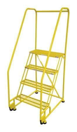 "Premium 4 Steps, 40"" H Steel Rolling Ladder, 450 lb. Load Capacity-The Premium World"