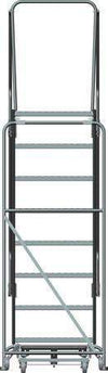 "Premium 8 Steps, 80"" H Steel Rolling Ladder, 450 lb. Load Capacity"