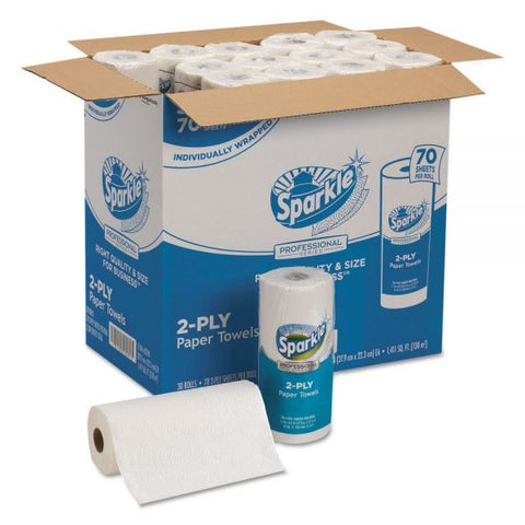 Premium Sparkle® Paper Towels, 2-Ply, White, 70 Sheets/Roll, 30 Rolls/Case-The Premium World