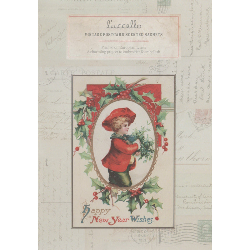 Vintage Postcard Scented Sachets - Christmas Boy Postcard - Luccello - Stitches from the Bush