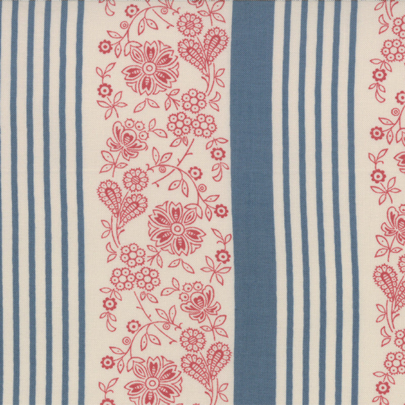 French General Faded Blue Stripe FAT QUARTER - M13663-19 - Stitches from the Bush