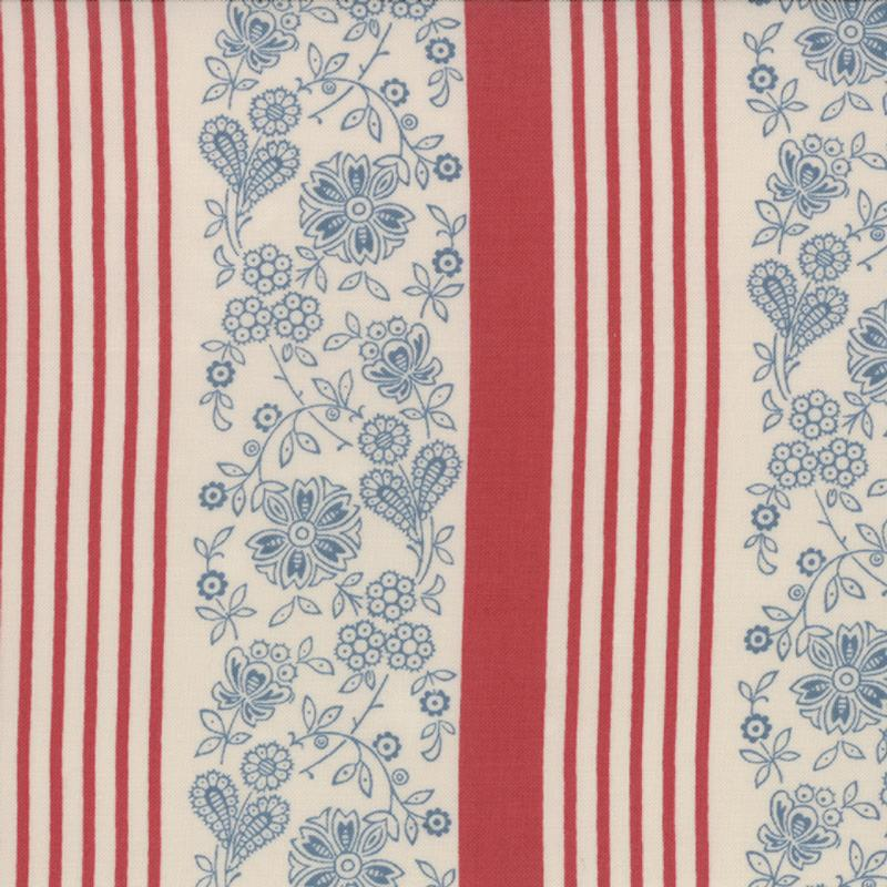 French General Faded Red Stripe FAT QUARTER - M13663-18 - Stitches from the Bush
