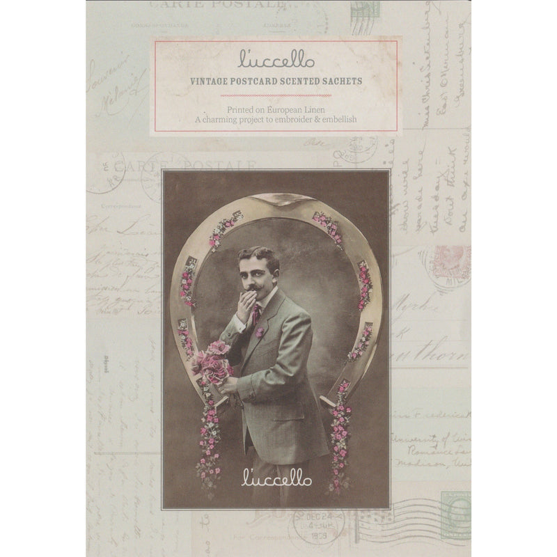 Vintage Postcard Scented Sachets - Man with Posy Postcard - Luccello - Stitches from the Bush