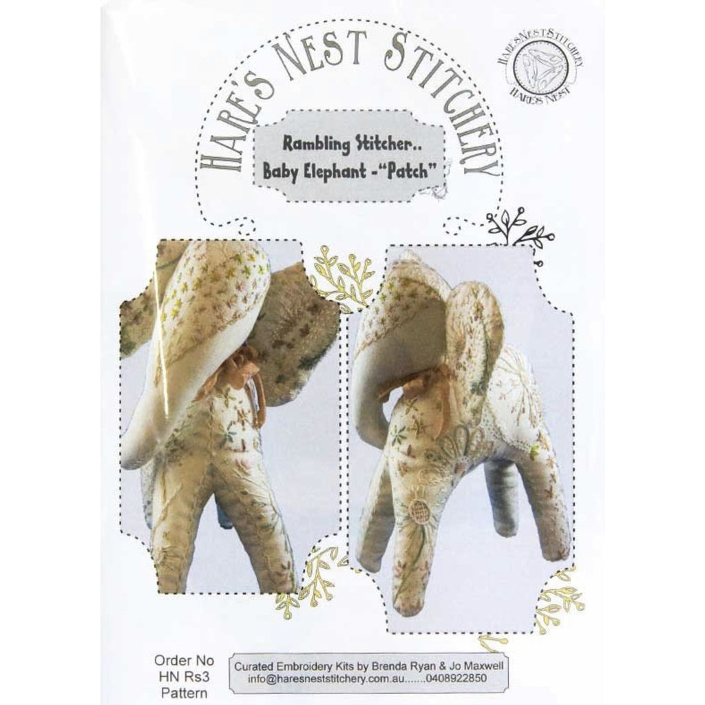 'Baby Elephant - Patch' Rambling Stitcher Starter Kit - Hare's Nest Stitchery Kit - Stitches from the Bush