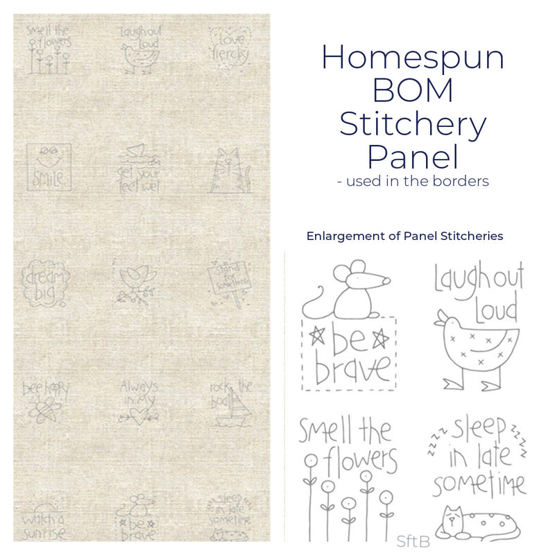 A Letter to My Daughter Stitchery Panel - Homespun BOM 2021