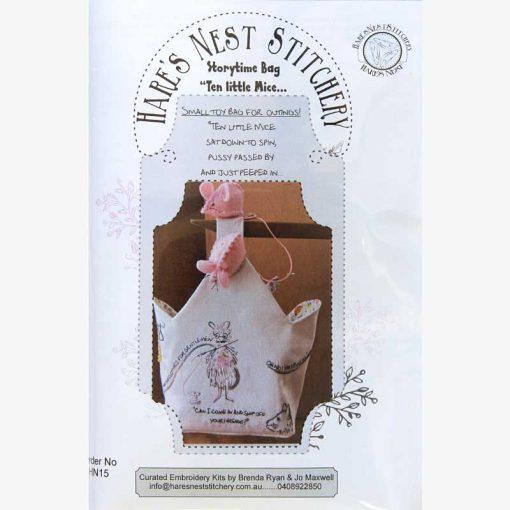 "Storytime Bag ""Ten Little Mice - Hare's Nest Stitchery Kit - Stitches from the Bush"