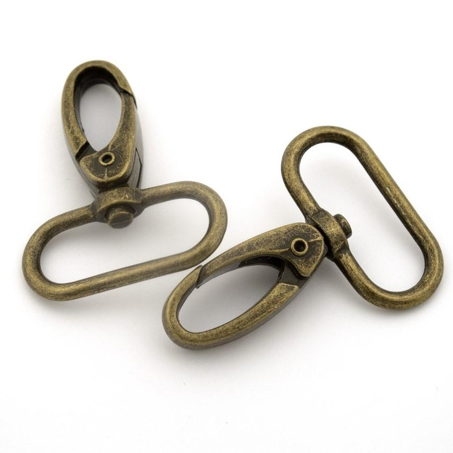 "Swivel Snap Hook Antique Brass 31mm(1 1/4"") 4 pk - Stitches from the Bush"