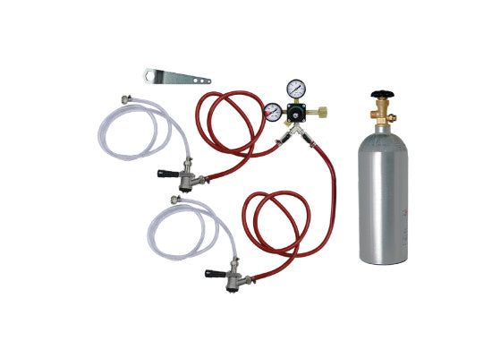 Double Tap Co2 Kegerator Tapping Kit  with Co2 Tank