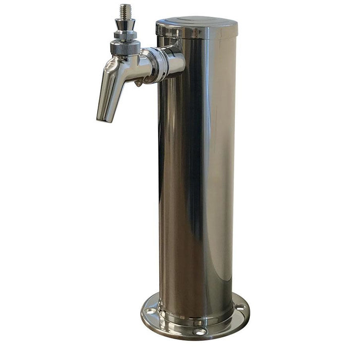 "Polished 304SS 1 Tap (Perlick 630SS) Beer Tower - 3"" Column"