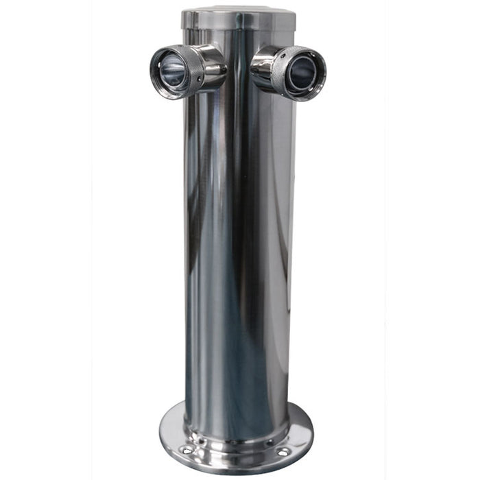 "Polished 304SS Two Oulet Beer Tower - 3"" Column with All SS Contact"