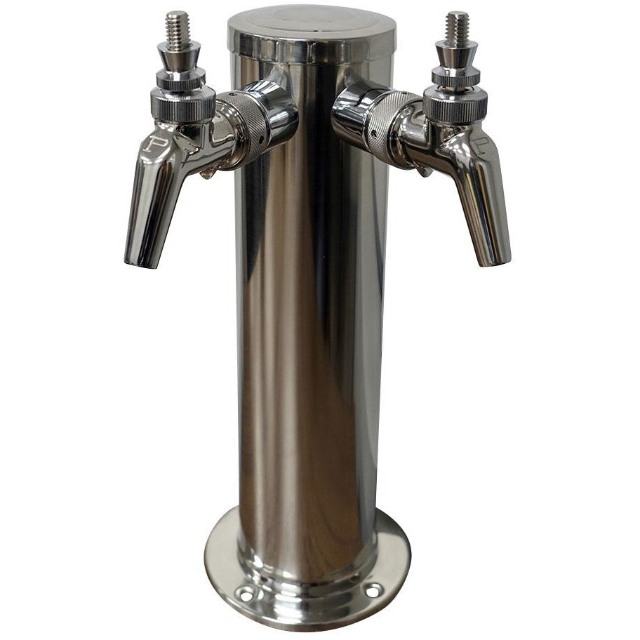 "Polished 304SS 2 Tap (Perlick 630SS) Beer Tower - 3"" Column ""ALL SS"""