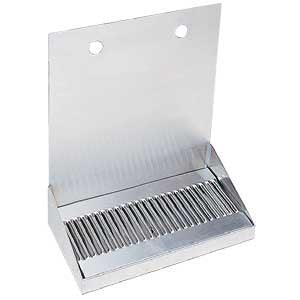 "12"" Brushed Stainless Steel Wall Mount Drip Tray with 2 Holes"