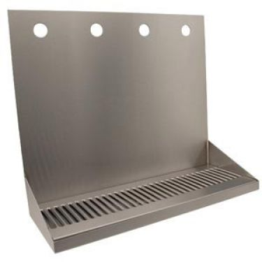"16"" Brushed Stainless Steel Wall Mount Drip Tray with 4 Holes"