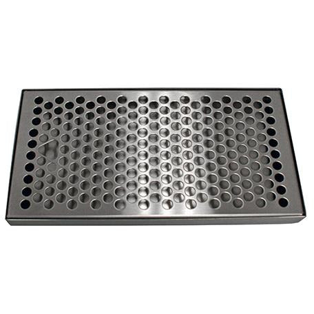"10-3/8"" x 5-3/8"" Brushed Stainless Steel Drip Tray - No Drain"
