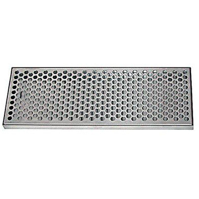 "15"" x 5-3/8"" Brushed Stainless Steel Drip Tray - No Drain"