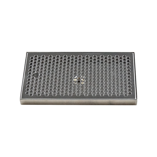 "12"" x 7"" Brushed Stainless Steel Drip Tray with Drain"