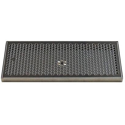 "16"" x 7"" Brushed Stainless Steel Drip Tray with Drain"