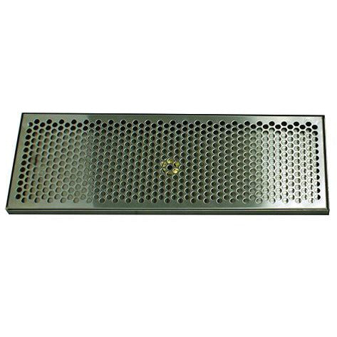 "20"" x 7"" Brushed Stainless Steel Drip Tray with Drain"