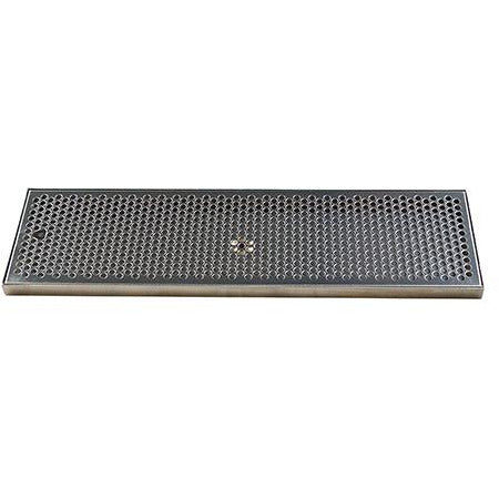 "24"" x 7"" Brushed Stainless Steel Drip Tray with Drain"