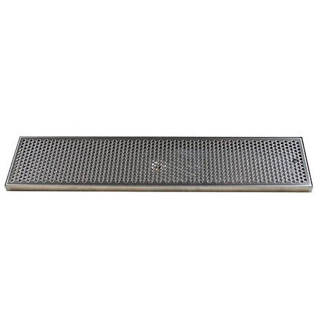 "30"" x 7"" Brushed Stainless Steel Drip Tray with Drain"